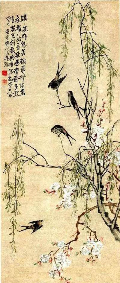 清 李鱓 《桃花柳燕图》天津博物馆藏