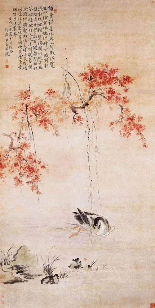 清 华嵒 《桃潭浴鸭图》