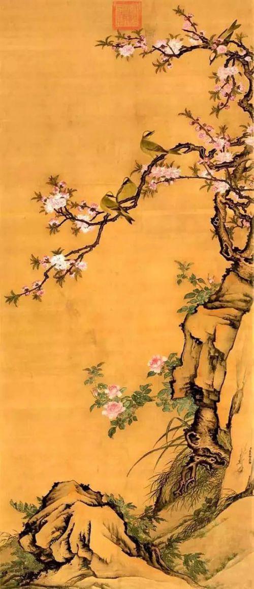 清 高其佩《桃花白头图》 天津博物馆藏